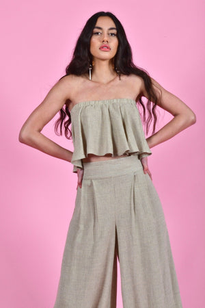 bella strapless crop top florence pants khaki linen | pipe and row