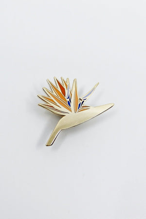 bird of paradise plant enamel gold pin Hemleva | Pipe and Row