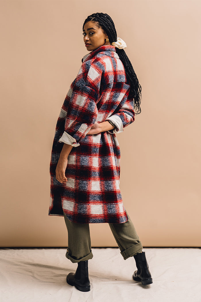 Blake plaid long button up shirt jacket wool red plaid | pipe and row boutique seattle
