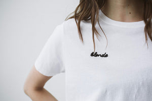blonde chain stitch crew neck tee brunette the label | pipe and row boutique.jpg