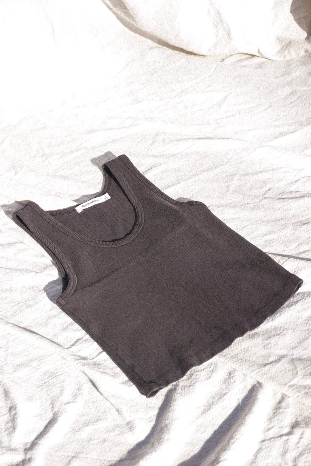 BLONDIE ribbed tank top VINTAGE BLACK crop | Pipe and Row Seattle boutique