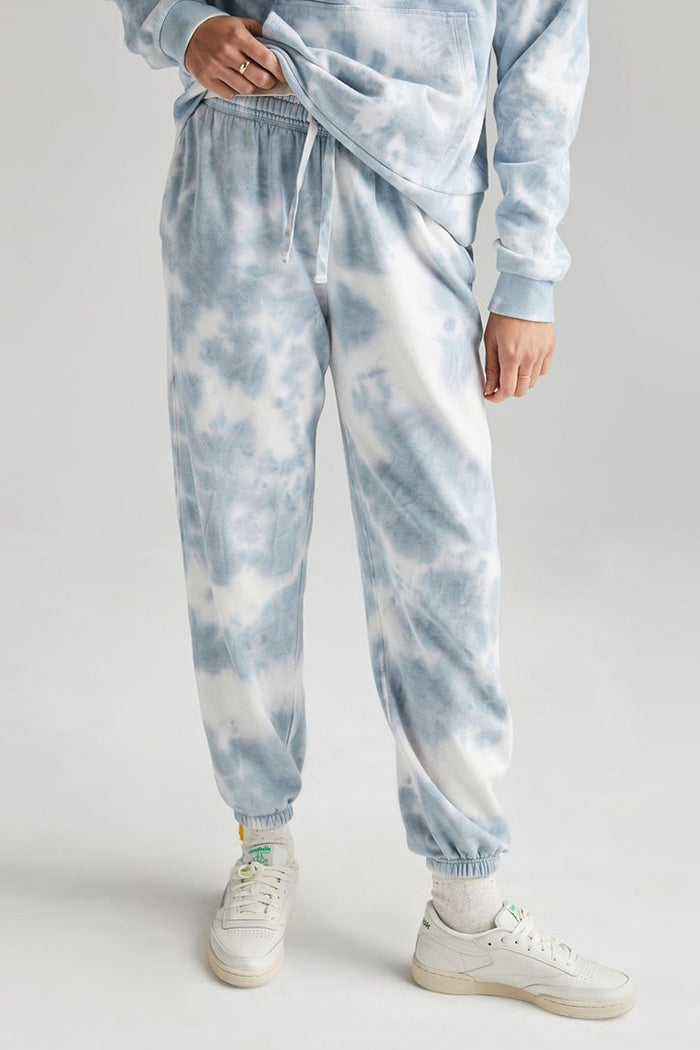 Richer Poorer blue mirage tie dye wash recycled fleece jogger sweatpants | pipe and row