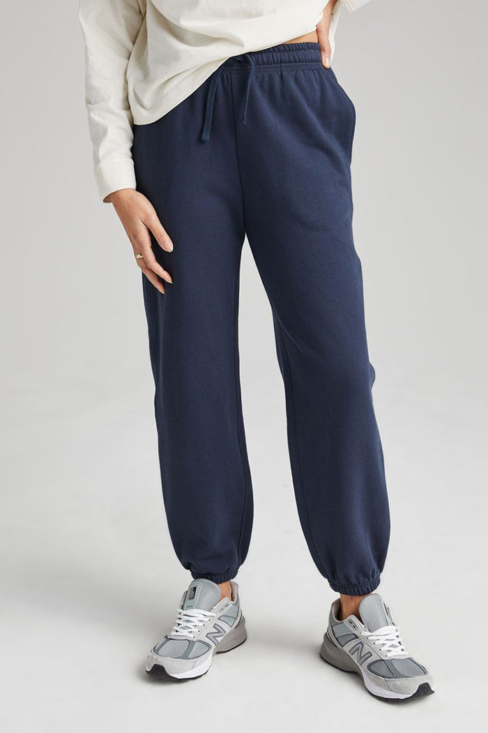 Richer Poorer blue nights navy recycled fleece jogger sweatpants  | pipe and row