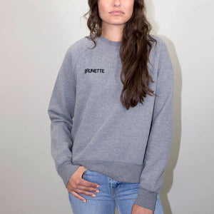 brunette chain stitch grey crewneck middle sister sweatshirt brunette the label | pipe and row