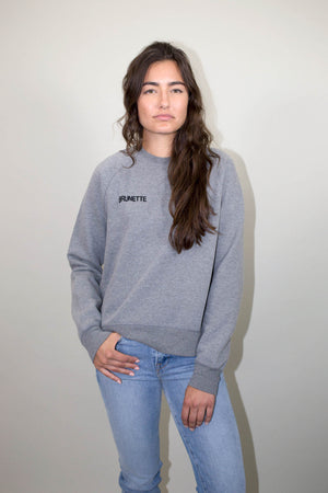 brunette chain stitch grey crew middle sister sweatshirt brunette the label | pipe and row