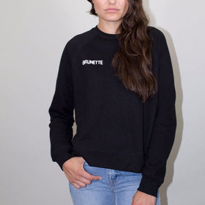 brunette chain stitch black crew middle sister sweatshirt brunette the label | pipe and row