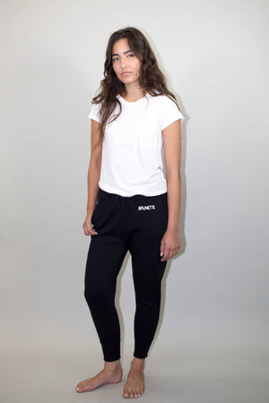 brunette black with white middle sister jogger sweat pants brunette the label | pipe and row
