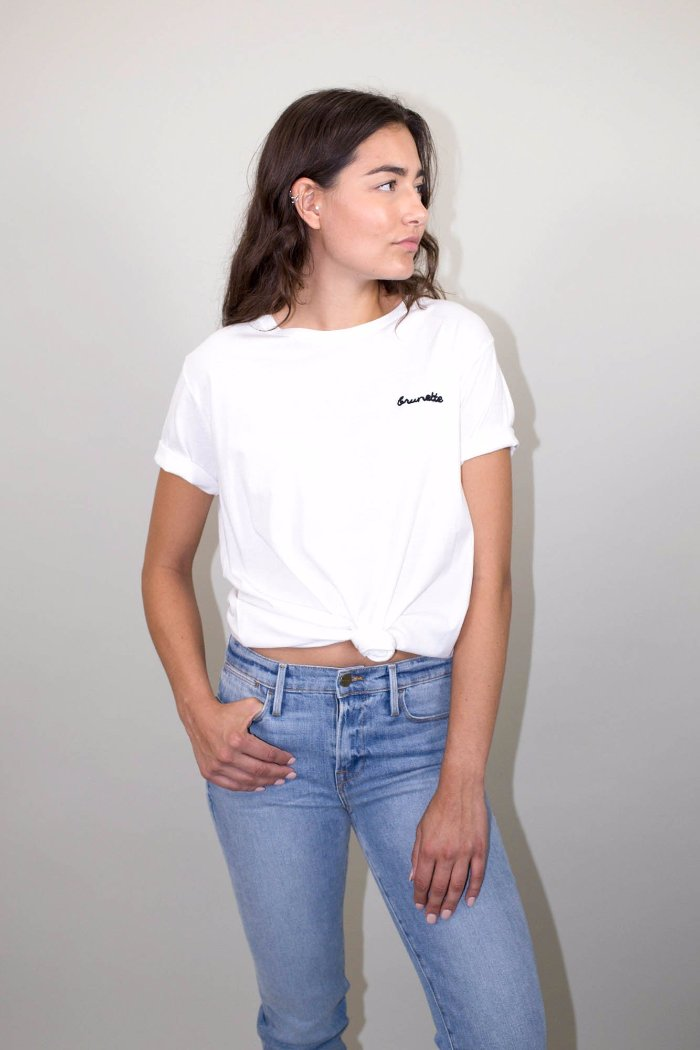 BRUNETTE CHAIN STITCH white w/ black writing TEE | Pipe and Row Seattle