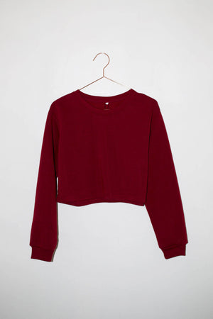 alice burgundy cropped crewneck sweatshirt | pipe and row