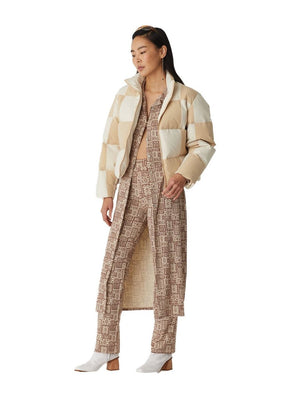 Paloma Wool Buzz bomber jacket cream beige checkered patch | Pipe and Row