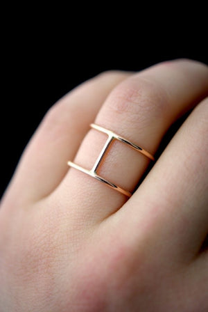 cage ring 14k gold hannah naomi | pipe and row