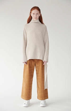Mijeong Park wide leg high waist corduroy trousers camel | Pipe and Row