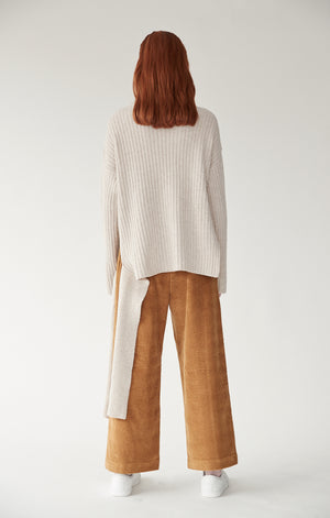 Mijeong Park wide leg high waist corduroy trousers camel brown | Pipe and Row