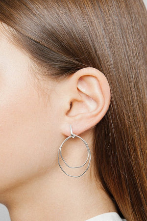 Wolf Circus Camilla double hoop modern earrings sterling silver | PIPE AND ROW boutique