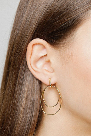 Wolf Circus Camilla double hoop earrings 14k gold | PIPE AND ROW