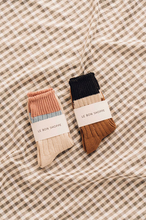 Le Bon Shoppe Camp color block stripe socks cotton sandals scrunch | PIPE AND ROW boutique gift clothing store seattle