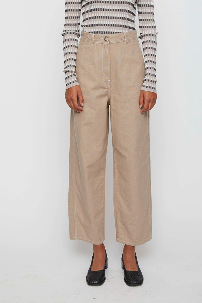 Just Cayenne sand trousers high waist wide leg | Pipe and Row