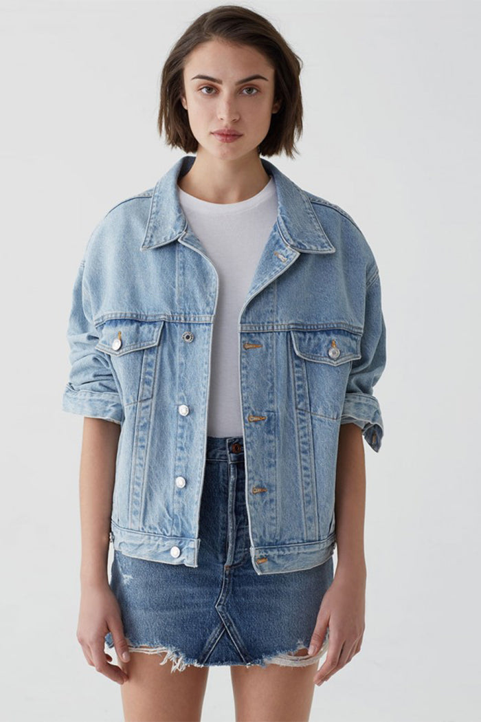 Agolde Charli oversized denim jacket light indigo Heed wash | Pipe and row