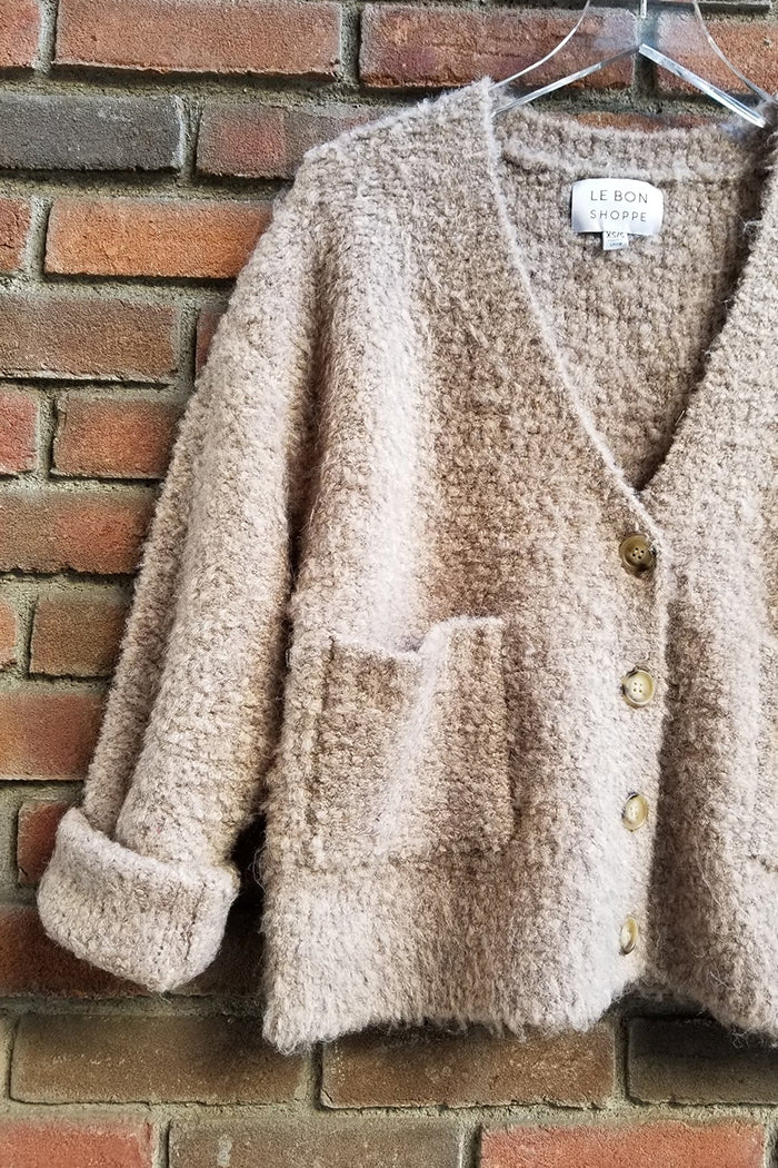 Le Bon Shoppe chaud chunky cardigan in mushroom brown | pipe and row