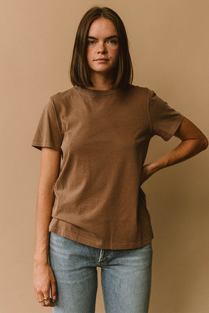 Filosofia Ariana brown wheat natural tee t-shirt top buttery cotton ethical slow fashion | pipe and row boutique