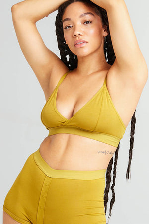 Richer Poorer classic bralette in golden verde mustard yellow intimates | Pipe and Row boutique Seattle