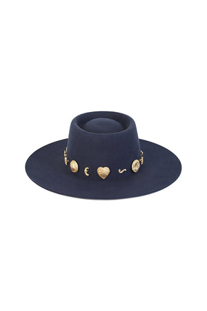 Lack of Color Cosmic boater hat navy dipped crown gold conchos | Pipe and ROw
