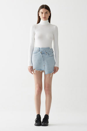 Agolde high rise criss-cross denim skirt blue broken wash | Pipe and Row
