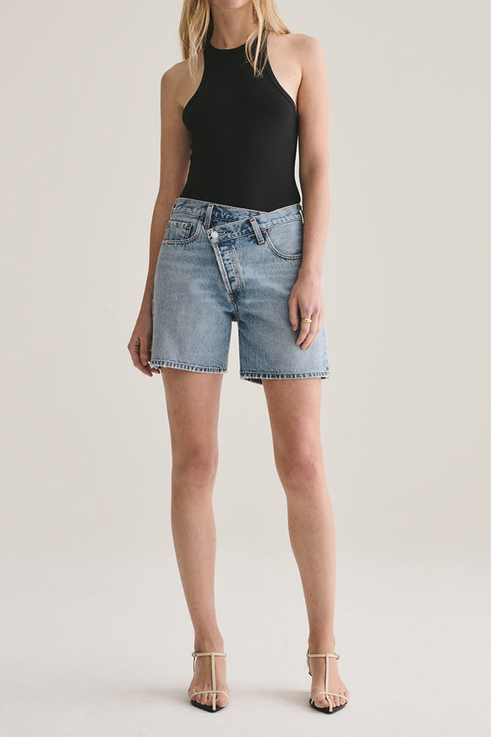 Agolde criss cross denim shorts momentum light blue | Pipe and Row boutique Seattle