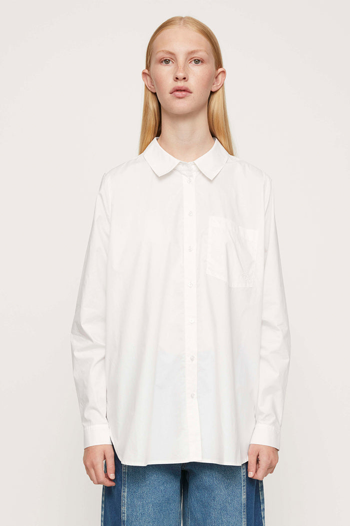 Just Female Dallas white oversized button up shirt organic cotton | pipe and row