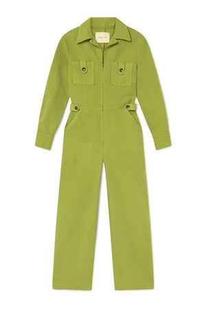 Paloma Wool Dolores jumpsuit long sleeved cotton lime green | pipe and row boutique