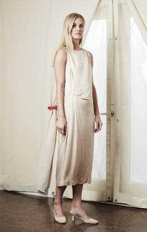 drape midi dress beige achro | pipe and row