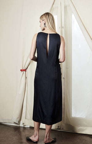 drape midi dress silky navy achro | pipe and row