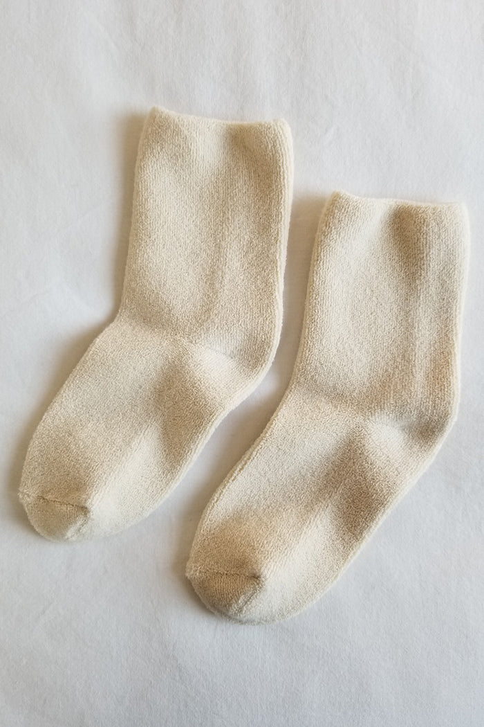 Le Bon Shoppe ecru cream terry comfy cozy terry cloth Cloud socks | Pipe and Row