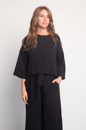 Rue Stiic Edina in black cropped boxy fit top PIPE AND ROW