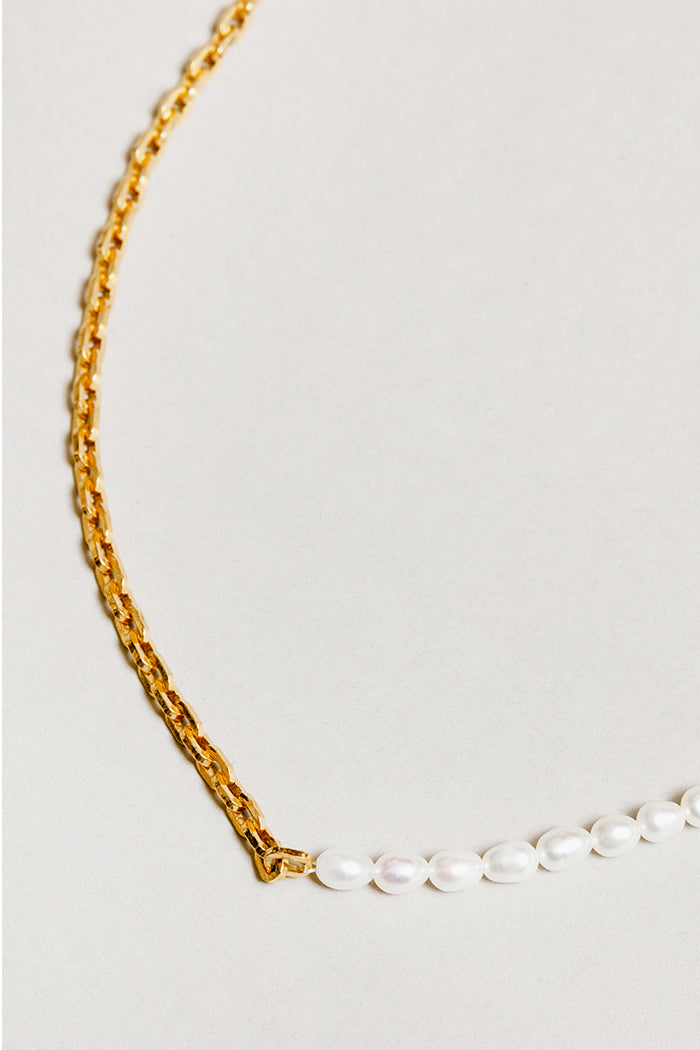 Wolf Circus Effy necklace half fresh water pearls half gold box chain | Pipe and Row