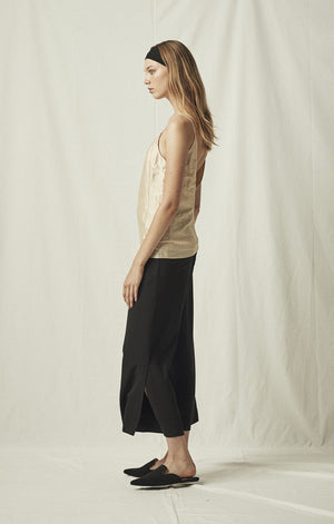 elastic comfortable waist trousers black mijeong park | pipe and row