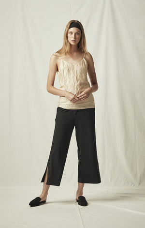 elastic waist cropped trouser black mijeong park | pipe and row