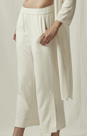 elastic waist cropped trousers ivory pockets mijeong park | pipe and row
