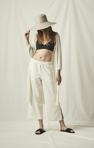 elastic waist cropped trouser ivory mijeong park | pipe and row