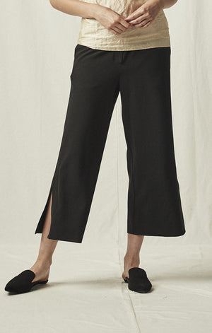 elastic waist cropped trousers black mijeong park | pipe and row