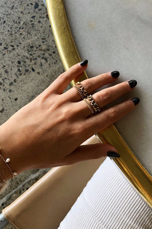 Elliot thick chain gold linked ring | Pipe and Row local Seattle Boutique