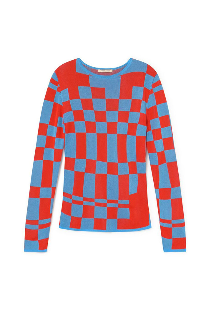 Paloma Wool El Valle knit top checkered blue red | PIpe and rowPaloma Wool El Valle knit top checkered blue red | PIpe and row