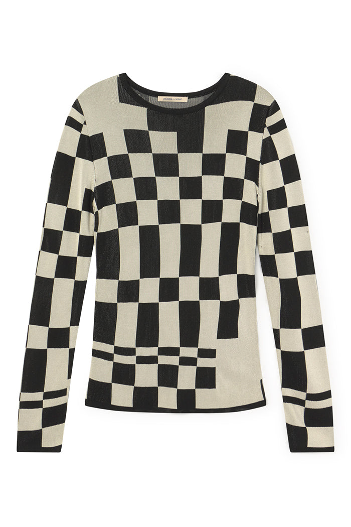 Paloma Wool El Valle knit top black and white checkered | PIpe and row boutique seattle shop small pipeandrow.com