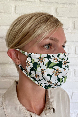Rue Stiic emerald posy print face mask recycled viscose fabric | pipe and row
