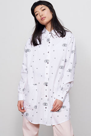 Printed Eyelash Button up Shirt Dress Lazy Oaf | Pipe and Row