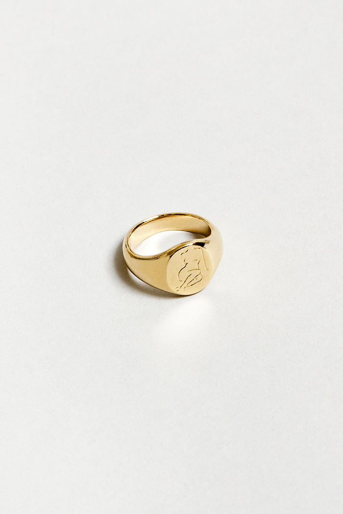 Wolf Circus engraved Femme signent ring recycled 14k gold | PIPE AND ROW