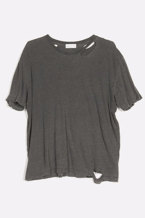 finnis distressed short sleeve top flat black pigment drifter | pipe and row boutique