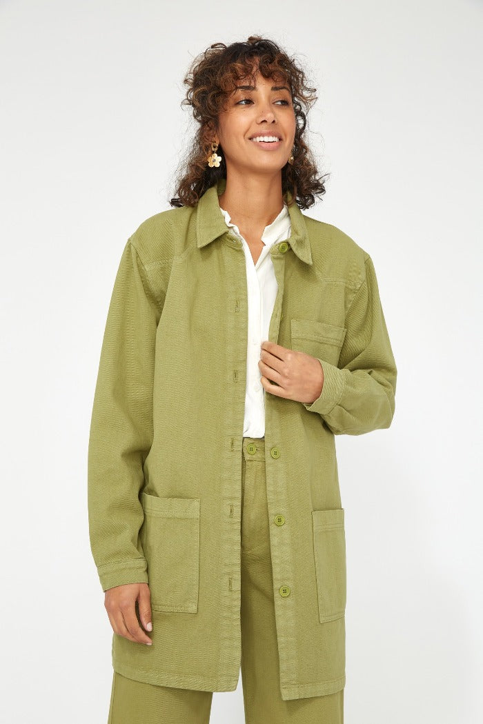 Lacausa Fletcher Jacket olive green oversized chore coat | Pipe and Row
