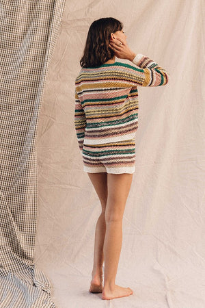 Rue Stiic Franco slouch knit sweater crochet look multi stripe | Pipe and Row Seattle Boutique