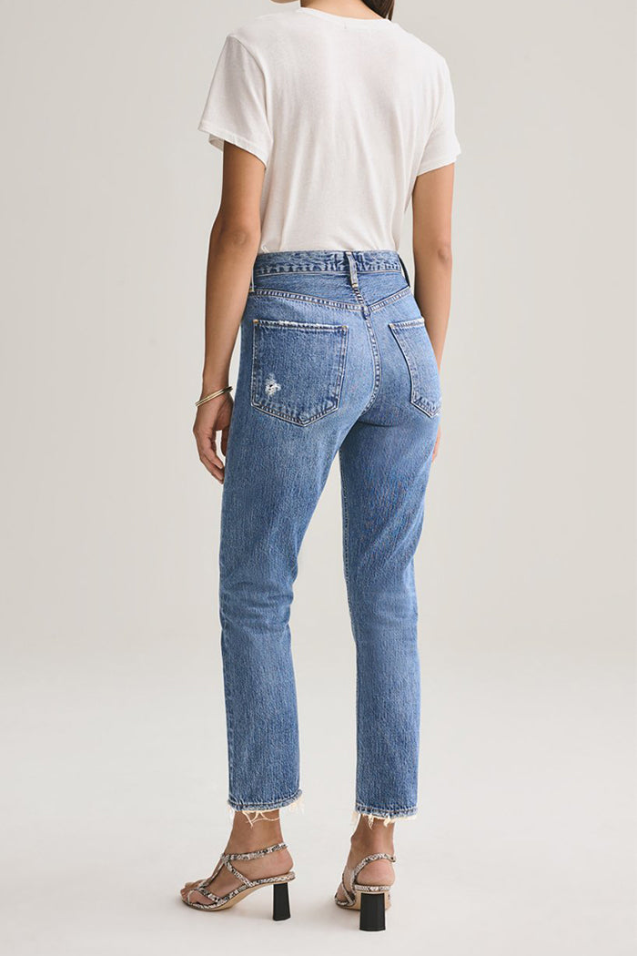 Agolde Riley high rise straight crop medium wash blue Frequency | Pipe and Row